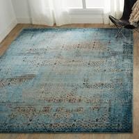 Nourison Karma Vintage Distressed Blue Area Rug - 6'7 x 9'6