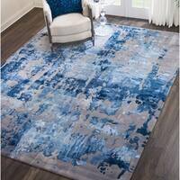 "Nourison Prismatic Handmade Blue/Grey Wool Area Rug - 7'9"" x 9'9"""