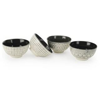 Signature Housewares Set of 4 Bowls, Geo Design, 6-Inch Diameter