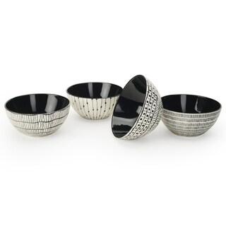 Signature Housewares Set of 4 Bowls, Sketch Print Design, 6-Inch Diameter