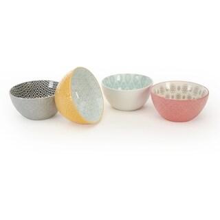 Signature Housewares Set of 4 Bowls, Pad Print Design 15, 4.5-Inch diameter
