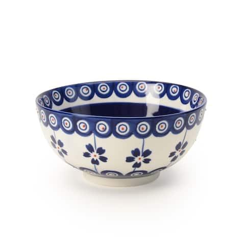 Signature Housewares Set of 4 Bowls, Blue Pottery Design, 4.5-Inch diameter