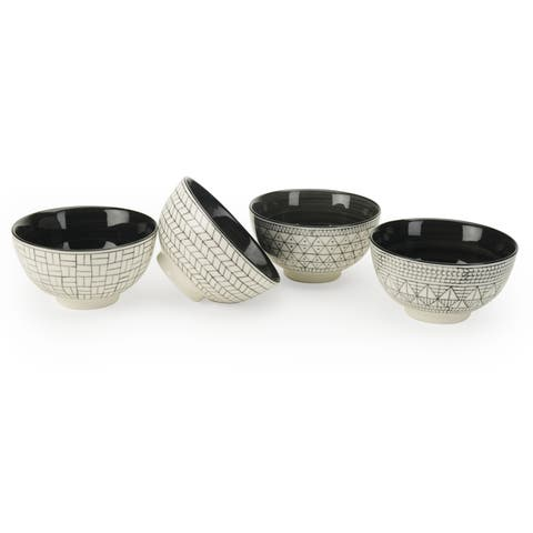 Signature Housewares Set of 4 Bowls, Geo Design, 4.5-Inch diameter