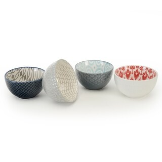 Signature Housewares Set of 4 Bowls, Pad Print Design 14, 4.5-Inch diameter
