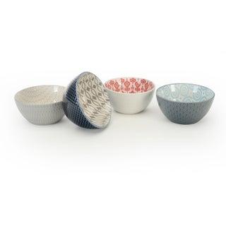Signature Housewares Set of 4 Bowls, Pad Print Design 14, 4.5-Inch diameter