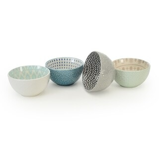 Signature Housewares Set of 4 Bowls, Pad Print Design 13, 4.5-Inch diameter