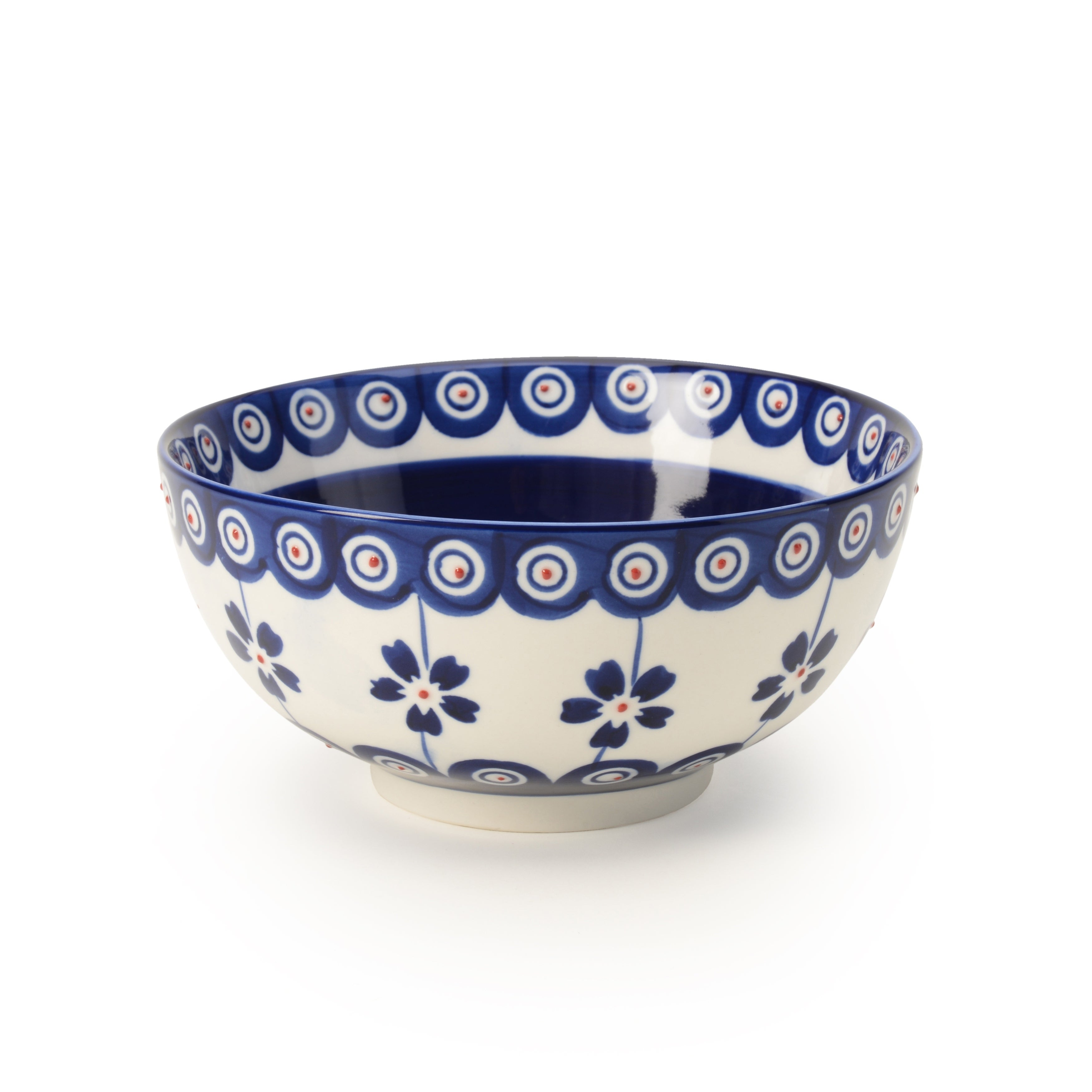 bowl ceramics and pottery red white blue