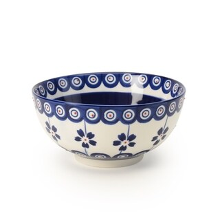 Signature Housewares Set of 4 Bowls, Blue Pottery Design, 6-Inch Diameter