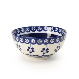Signature Housewares Set of 4 Bowls, Blue Pottery Design, 6-Inch Diameter