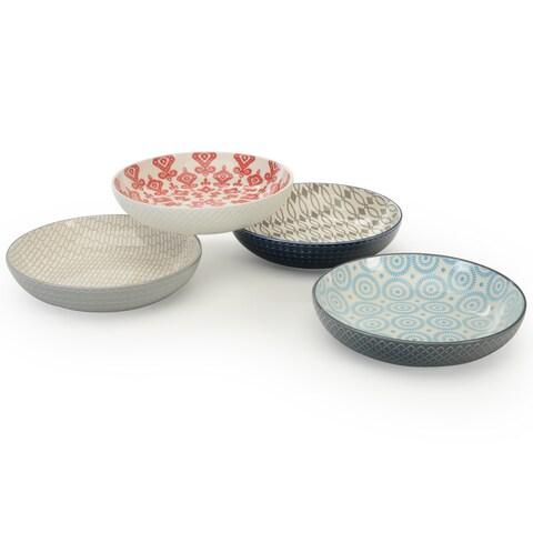 Signature Housewares Set of 4 Bowls, Pad Print Design 14, 8-Inch Diameter