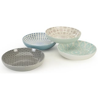 Signature Housewares Set of 4 Bowls, Pad Print Design 13, 8-Inch Diameter