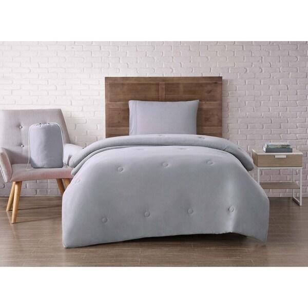 Brooklyn Loom Solid Jersey Twin XL 4 Piece Comforter Dorm Set