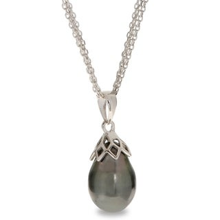 "PearLustre by Imperial 18"" Sterling Silver 9-10mm Tahitian Pearl Drop Pendant"