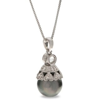 """PearLustre by Imperial 18"""" Sterling Silver 11-12mm Tahitian Pearl and White Topaz Pendant"""