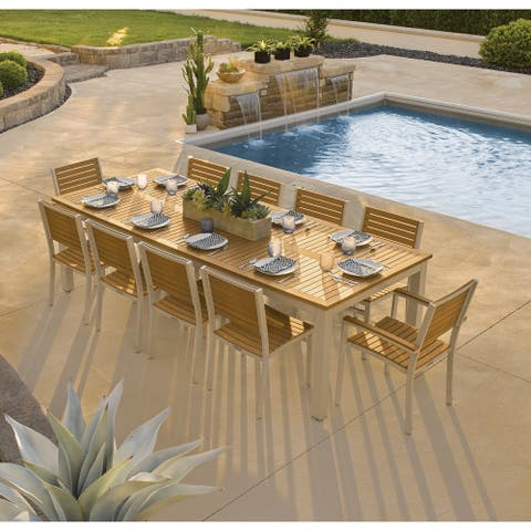 Oxford Garden Travira 11-piece 103-in x 42-in Tekwood Natural Table & Slat Chair Dining Set