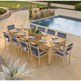 Oxford Garden Travira 11-piece 103-in x 42-in Tekwood Natural Table & Sling Armchair Dining Set - Ink Sling