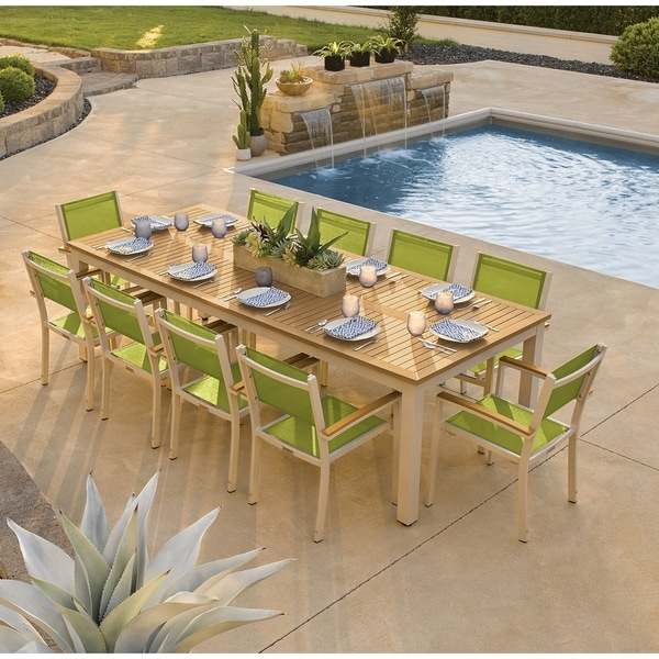 Oxford Garden Travira 11-piece 103-in x 42-in Tekwood Natural Table & Sling Armchair Dining Set - Go Sling