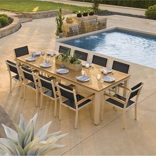 Oxford Garden Travira 11-piece 103-in x 42-in Tekwood Natural Table & Sling Armchair Dining Set - Ninja Sling