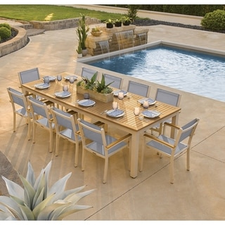 Oxford Garden Travira 11-piece 103-in x 42-in Tekwood Natural Table & Sling Armchair Dining Set - Slate Sling