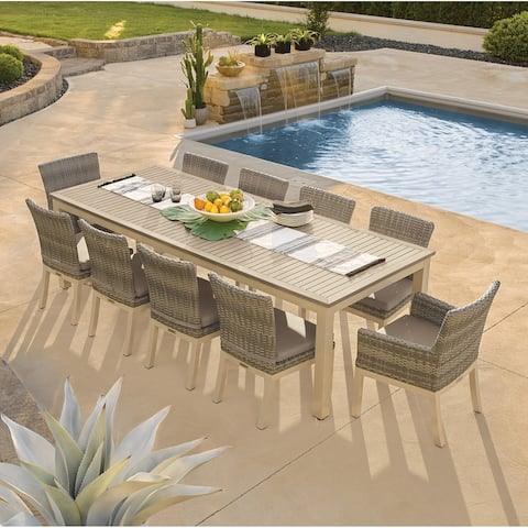 Oxford Garden Travira 11-piece 103-in x 42-in Tekwood Vintage Table & Argento Woven Chair Dining Set - Stone Cushions