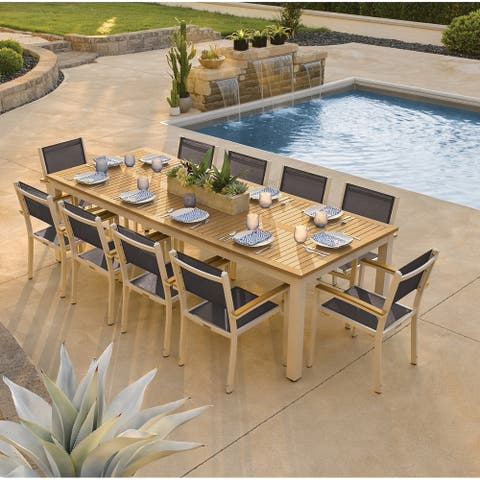 Oxford Garden Travira 11-piece 103-in x 42-in Tekwood Natural Table & Sling Armchair Dining Set - Black Sling