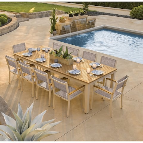 Oxford Garden Travira 11-piece 103-in x 42-in Tekwood Natural Table & Sling Armchair Dining Set - Bellows Sling