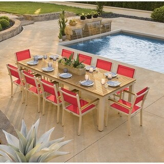 Oxford Garden Travira 11-piece 103-in x 42-in Tekwood Natural Table & Sling Armchair Dining Set - Red Sling