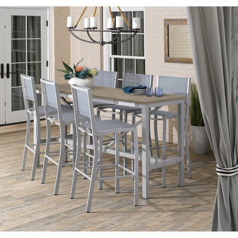 Oxford Garden Travira 7-piece 72-in x 30-in Tekwood Vintage Bar Table & Sling Bar Chair Set - Slate Sling