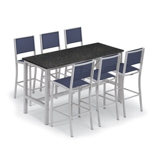 Oxford Garden Travira 7-piece 72-in x 30-in Lite-Core Charcoal Bar Table & Sling Bar Chair Set - Ink Sling