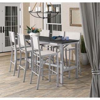 Oxford Garden Travira 7-piece 72-in x 30-in Lite-Core Charcoal Bar Table & Sling Bar Chair Set - Natural Sling
