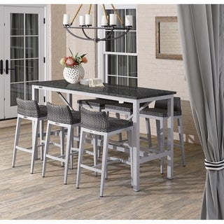Oxford Garden Travira 7-piece 72-in x 30-in Lite-Core Charcoal Bar Table & Argento Resin Wicker Bar Stool Set