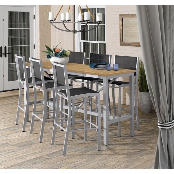Oxford Garden Travira 7-piece 72-in x 30-in Tekwood Natural Bar Table & Sling Bar Chair Set - Black Sling