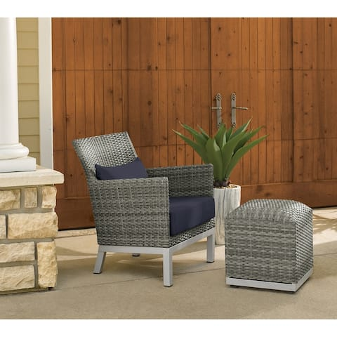 Oxford Garden Argento Resin Wicker Club Chair and Pouf - Midnight Blue Polyester Cushion and Pillow