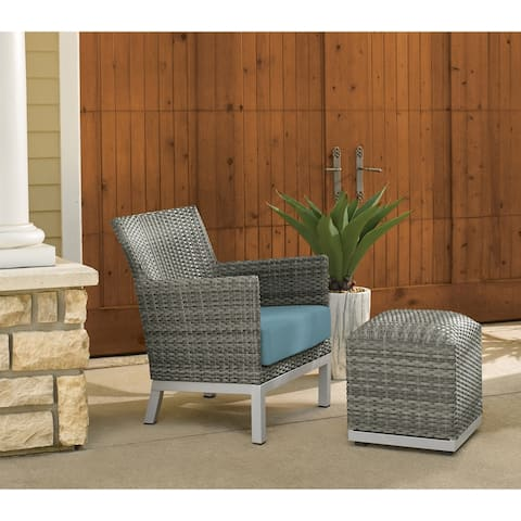 Oxford Garden Argento Resin Wicker Club Chair and Pouf - Ice Blue Cushion