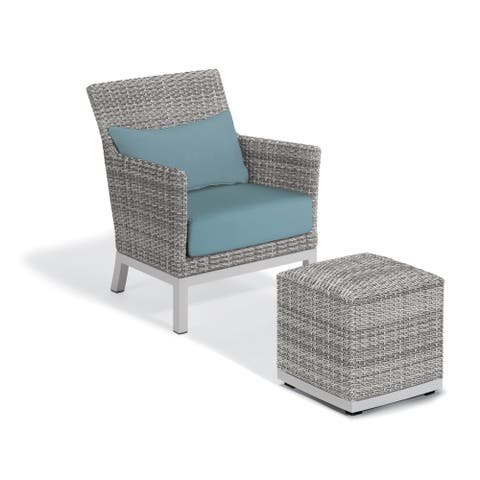 Oxford Garden Argento Resin Wicker Club Chair and Pouf - Ice Blue Polyester Cushion and Pillow