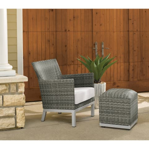 Oxford Garden Argento Resin Wicker Club Chair and Pouf - Eggshell White Cushion