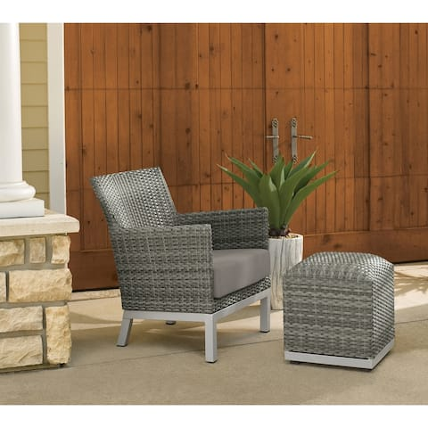 Oxford Garden Argento Resin Wicker Club Chair and Pouf - Stone Cushion
