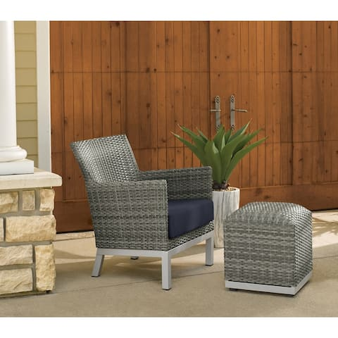 Oxford Garden Argento Resin Wicker Club Chair and Pouf - Midnight Blue Cushion