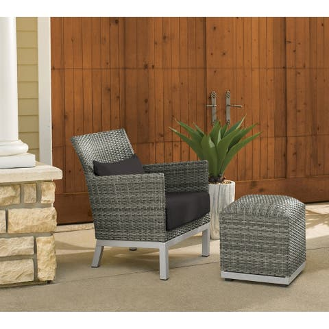 Oxford Garden Argento Resin Wicker Club Chair and Pouf - Jet Black Polyester Cushion and Pillow
