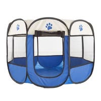 Pop-Up Pet Playpen with Carrying Case for Indoor/Outdoor Use -by Petmaker (Blue)