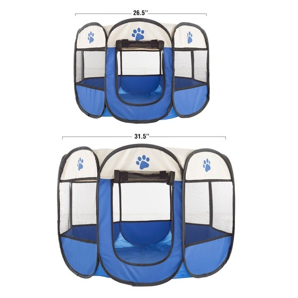 Free Shipping PETMAKER Portable Pop Up Pet Play Pen with Carrying Bag Blue Me..