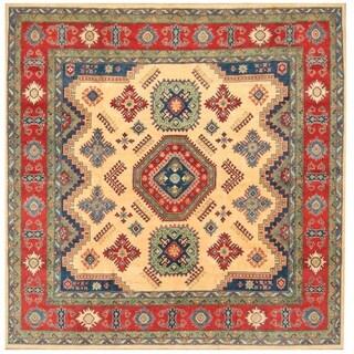 Handmade Herat Oriental Afghan Hand-knotted Tribal Kazak Wool Rug (8'1 x 8'1)