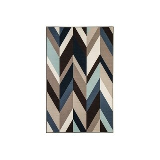 Keelia Blue/Brown/Gray Geometric Contemporary Rug - 4' x 7'