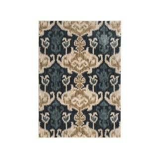 Saville Blue/Brown Ikat Colonial Rug - 5' x 8'
