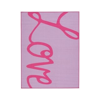 Janie Lavender/Pink Graphic Kids & Tween Rug - 5' x 7'