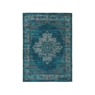 Moore Blue/Teal Overdyed Bohemian Rug - 5' x 7'