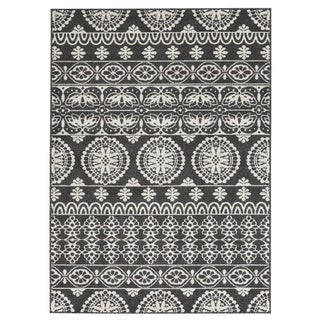 Jicarilla Black/White Print Country-Cottage Rug - 5' x 7'