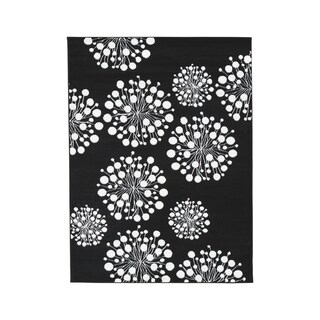 Jaliyah Black/White Abstract Eclectic Rug - 5' x 7'