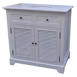 Cottage White 2 Louvered Doors 36-inch Vanity Sink