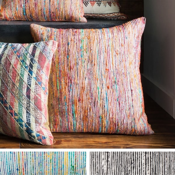 Recycled Sari Silk Stripe Square 22-inch Throw Pillow or Pillow Cover